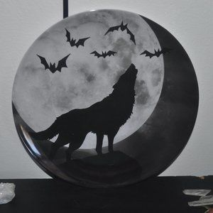 Other - SALE! Howling Wolf Bats Moon Tray